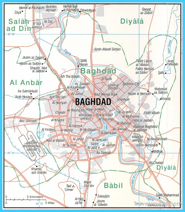 Map of Baghdad TravelsMapsCom