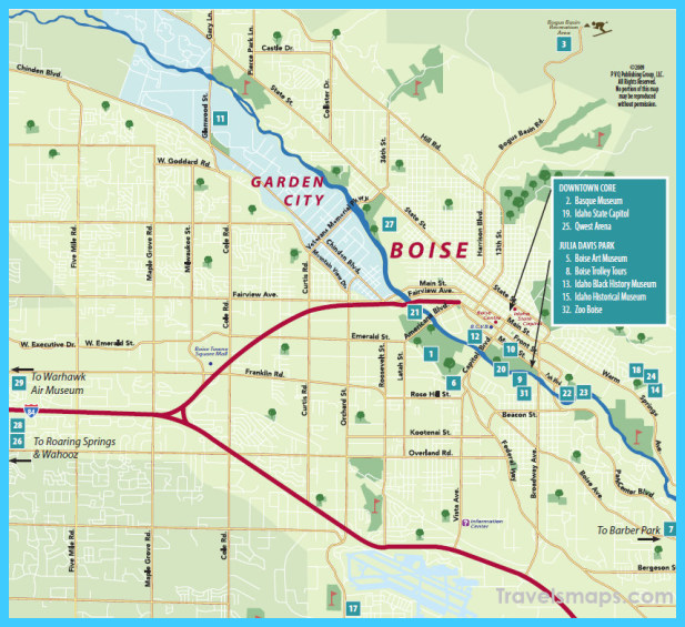 map of downtown boise idaho Map Of Boise Idaho Travelsmaps Com map of downtown boise idaho