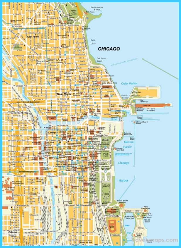 Map of Chicago Illinois - TravelsMaps.Com ® Chicago Beaches Map on