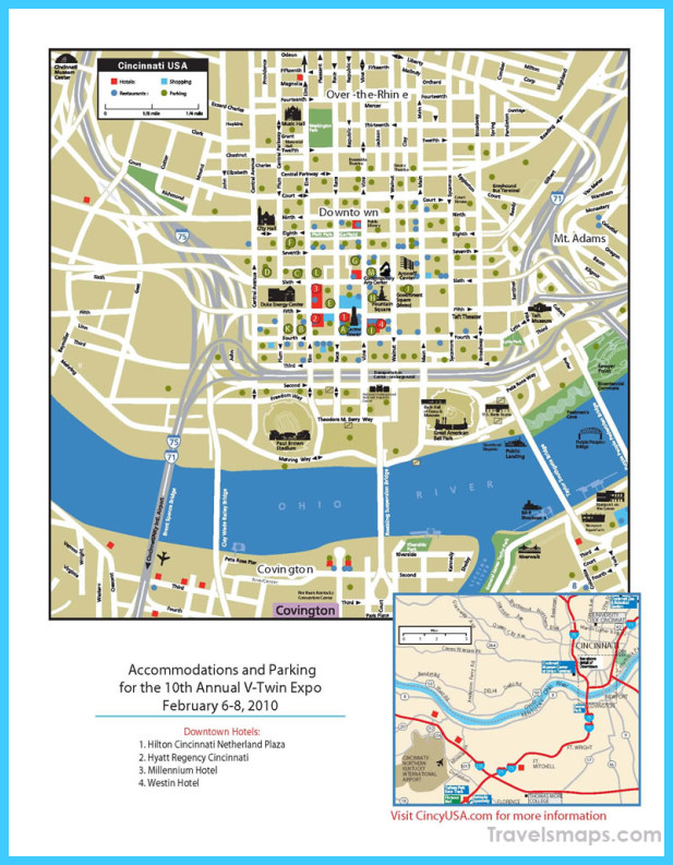 Map of Cincinnati Ohio TravelsMapsCom
