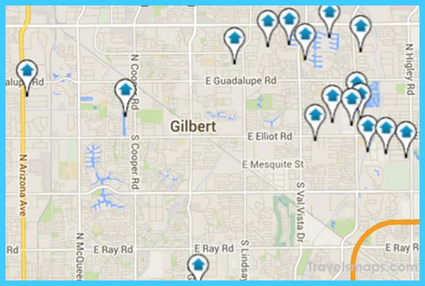 Map Of Arizona Gilbert.Map Of Gilbert Town Arizona Travelsmaps Com