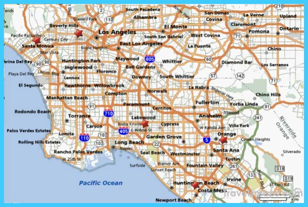 Map Of Los Angeles California Travelsmaps Com