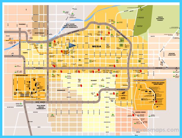 Map of Mesa Arizona TravelsMapsCom