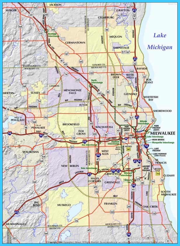 Map Of Milwaukee Wisconsin  Vacations  Travel  Map
