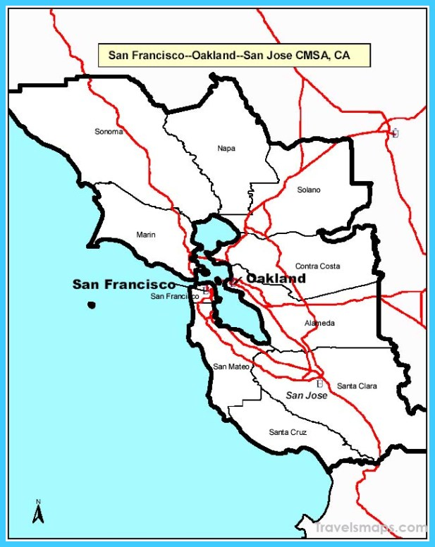 Map of San FranciscoSan Jose TravelsMapsCom