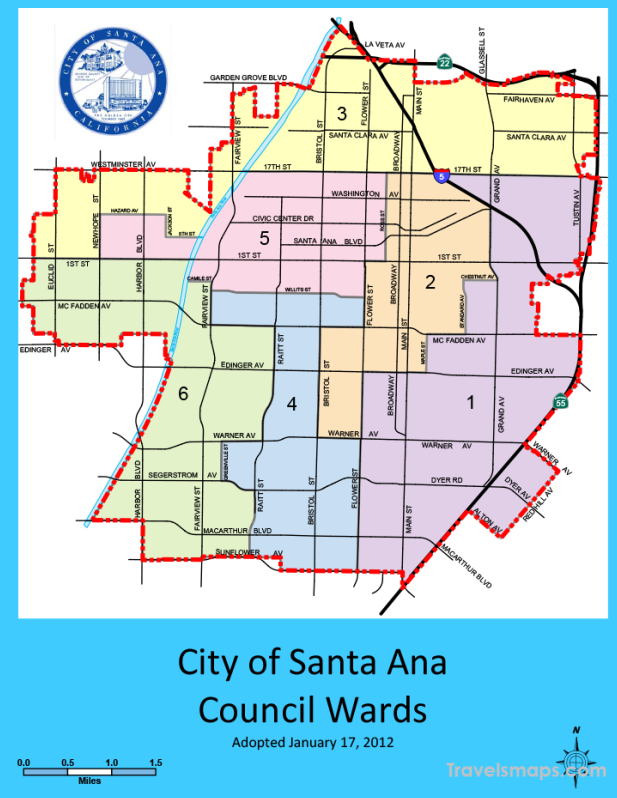 Map of Santa Ana California   TravelsMaps.®
