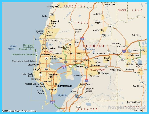 Map of Tampa Florida TravelsMapsCom