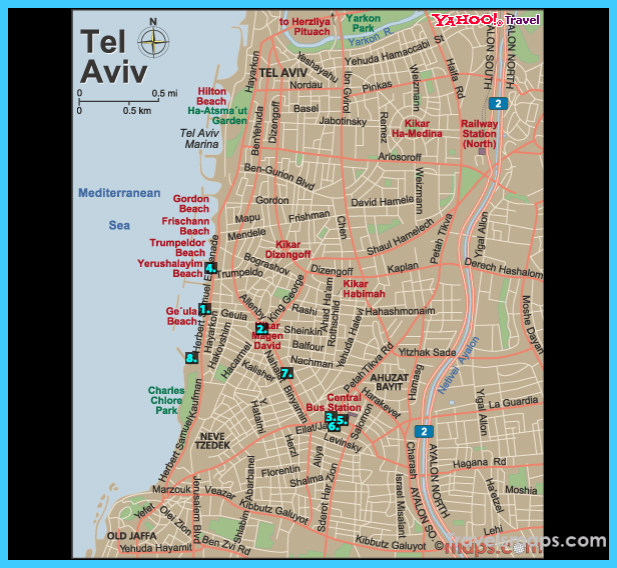 Map of Tel Aviv  Vacations  Travel  Map  Holiday