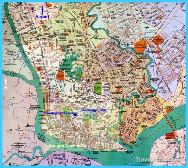 Map of Yangon Rangoon   TravelsMaps.®