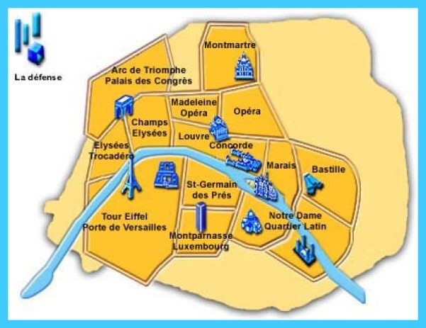 Map Of Paris Districts - TravelsMaps.Com ®