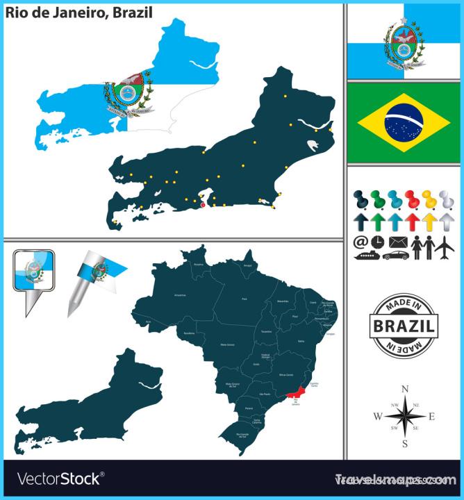 Map of Rio de Janeiro Royalty Free Vector Image