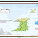 Trinidad and Tobago Physical Educational Wall Map from Academia Maps