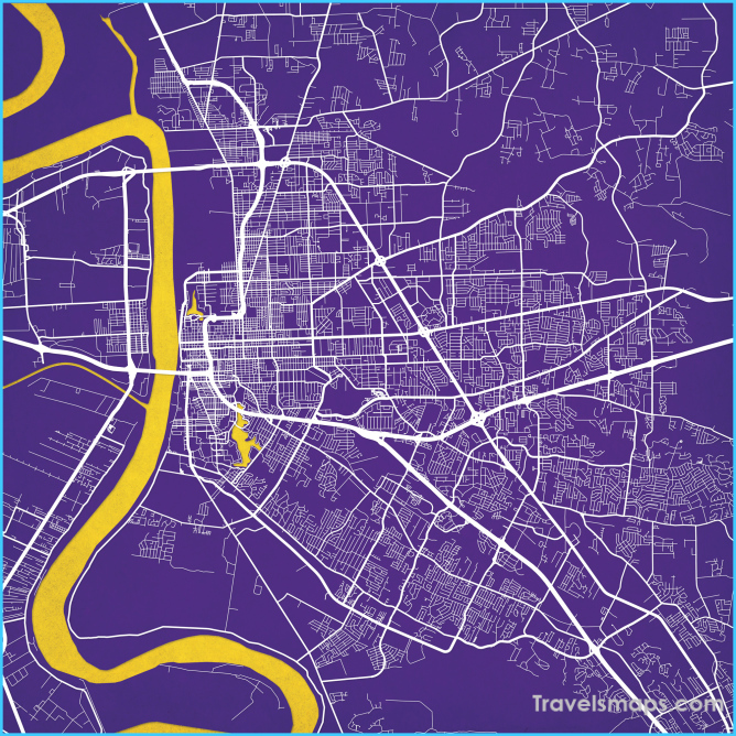 Baton Rouge, Louisiana Map Art