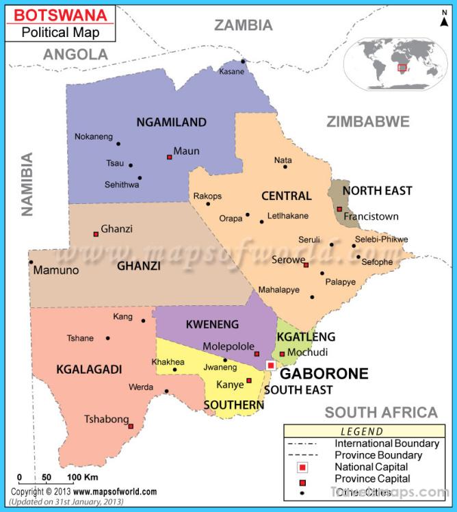 Botswana Political Map.Where Is Botswana Botswana Map Map Of Botswana Travelsmaps Com