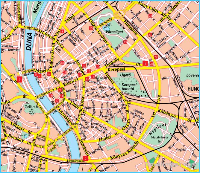 Budapest Street Map - Budapest Hungary