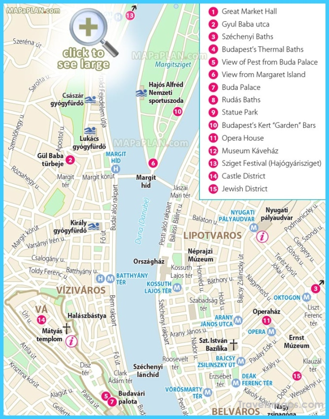 Budapest maps - Top tourist attractions
