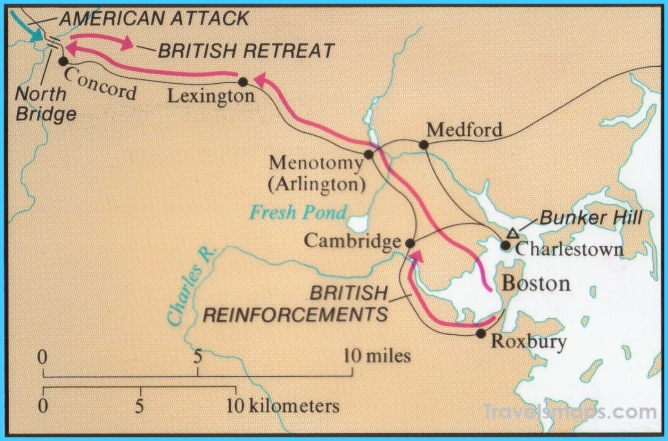 Map of the Battle of Lexington-Concord