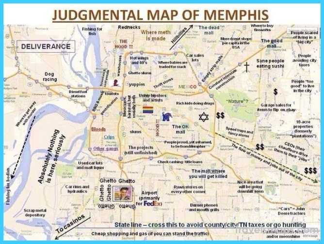 Stereotypical map of Memphis. Pretty funny