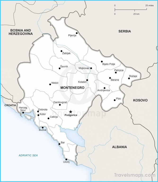 Vector Map of Montenegro Political