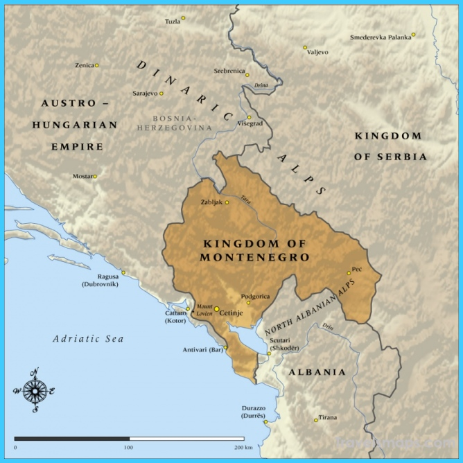 Map of the Kingdom of Montenegro