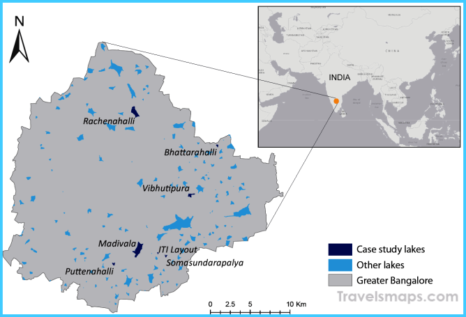 Map of Bangalore, India, its lakes, and the selected case