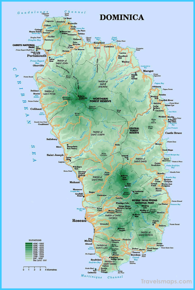 Detailed road and physical map of Dominica island. Dominica island
