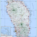 Large detailed topographical map of Dominica island. Dominica island
