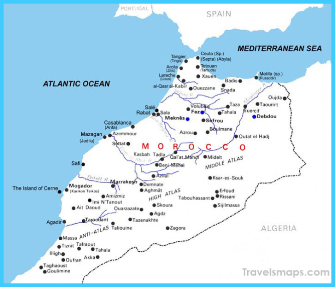 Detailed river map of Morocco. Morocco detailed river map