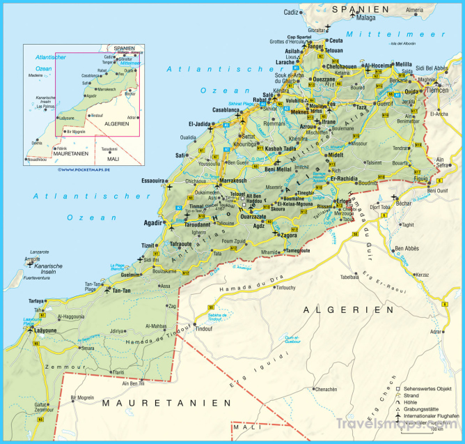 Road map of Morocco with relief, cities and airports