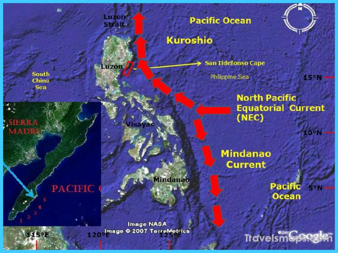 Map of the Philippines showing the regions where Kuroshio originates