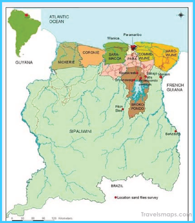 Map of Suriname, and location of Suriname in South America