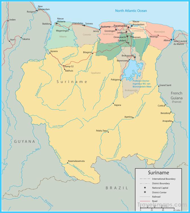 Map of Suriname, Paramaribo