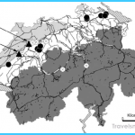 Map of Switzerland with major lakes (hatching) and highways and