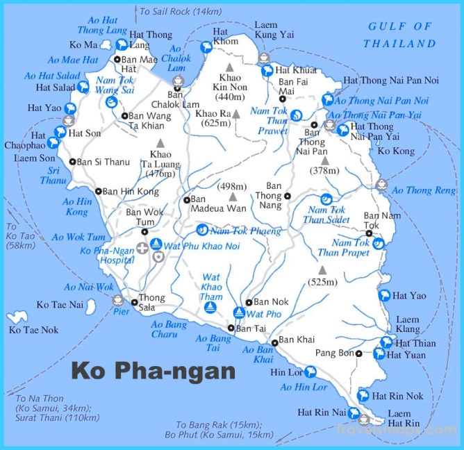 Koh Phangan Maps | Thailand | Maps of Ko Pha-ngan Island