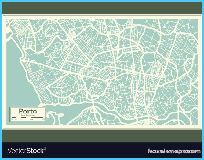 Porto portugal city map in retro style Royalty Free Vector