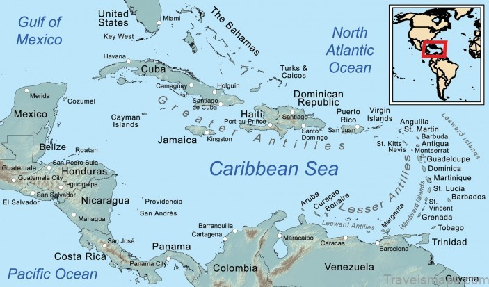 map of caribbean travel to caribbean