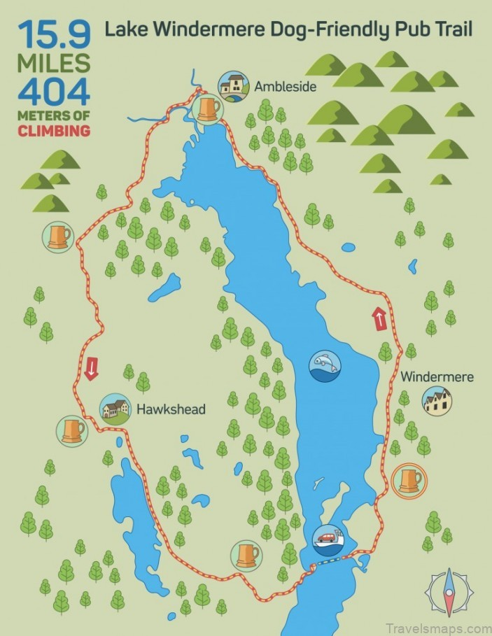windermere map windermere lake district camping guide 1